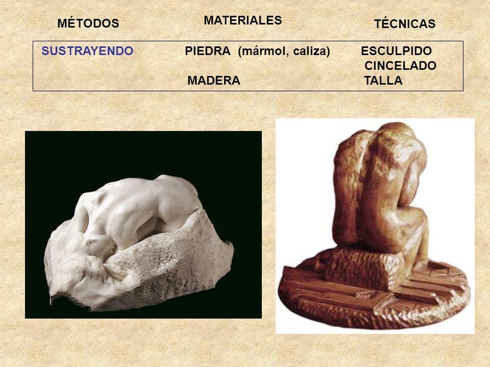 MATERIALESMÉTODOS. TÉCNICAS. SUSTRAYENDO PIEDRA (mármol, caliza) ESCULPIDO. CINCELADO.