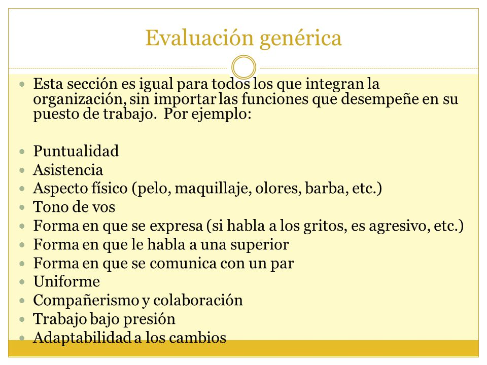 Evaluación genérica