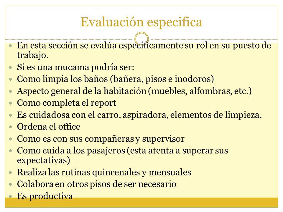 Evaluación especifica