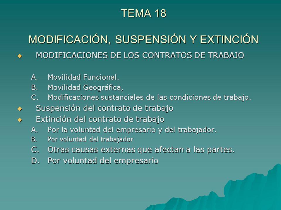 TEMA 18 MODIFICACIÓN, SUSPENSIÓN Y EXTINCIÓN