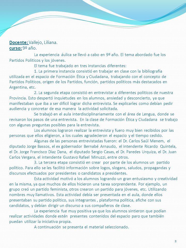 Docente: Vallejo, Liliana. curso: 9º año