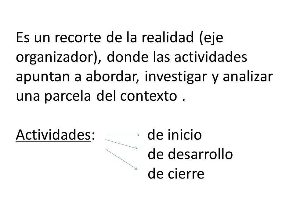 Es un recorte de la realidad (eje organizador), donde las actividades apuntan a abordar, investigar y analizar una parcela del contexto .