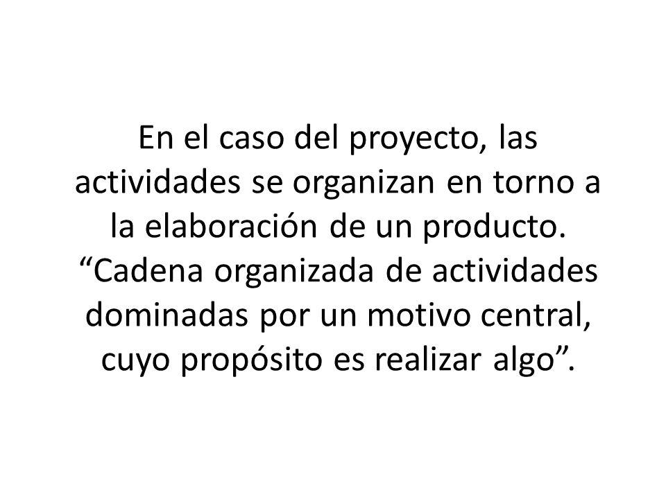 En el caso del proyecto, las actividades se organizan en torno a la elaboración de un producto.