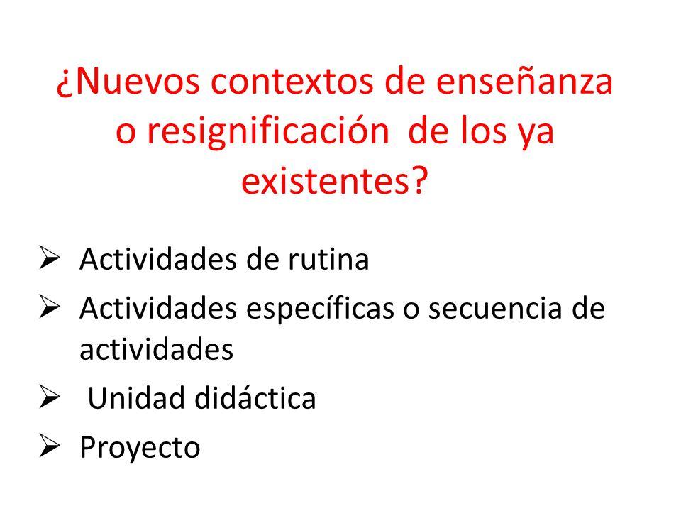 ¿Nuevos contextos de enseñanza o resignificación de los ya existentes