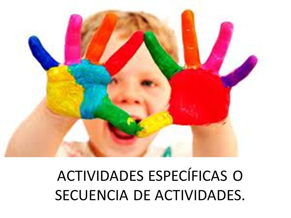 ACTIVIDADES ESPECÍFICAS O SECUENCIA DE ACTIVIDADES.