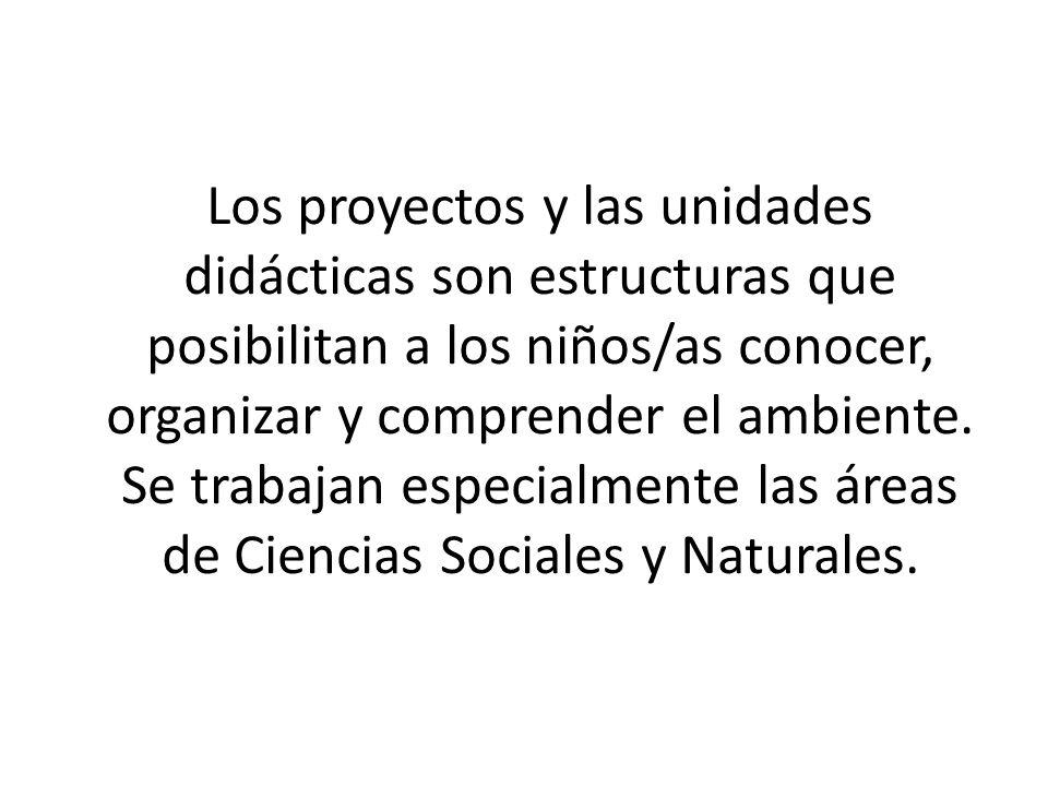 Los proyectos y las unidades didácticas son estructuras que posibilitan a los niños/as conocer, organizar y comprender el ambiente.