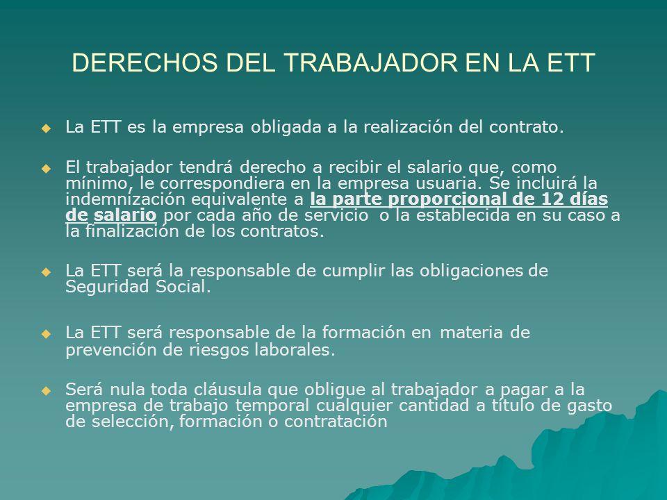 DERECHOS DEL TRABAJADOR EN LA ETT
