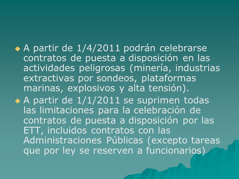 A partir de 1/4/2011 podrán celebrarse contratos de puesta a disposición en las actividades peligrosas (minería, industrias extractivas por sondeos, plataformas marinas, explosivos y alta tensión).
