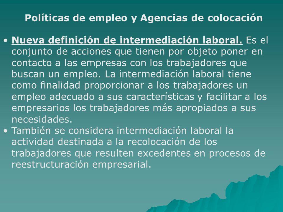 Políticas de empleo y Agencias de colocación