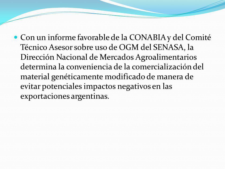 Con un informe favorable de la CONABIA y del Comité Técnico Asesor sobre uso de OGM del SENASA, la Dirección Nacional de Mercados Agroalimentarios determina la conveniencia de la comercialización del material genéticamente modificado de manera de evitar potenciales impactos negativos en las exportaciones argentinas.