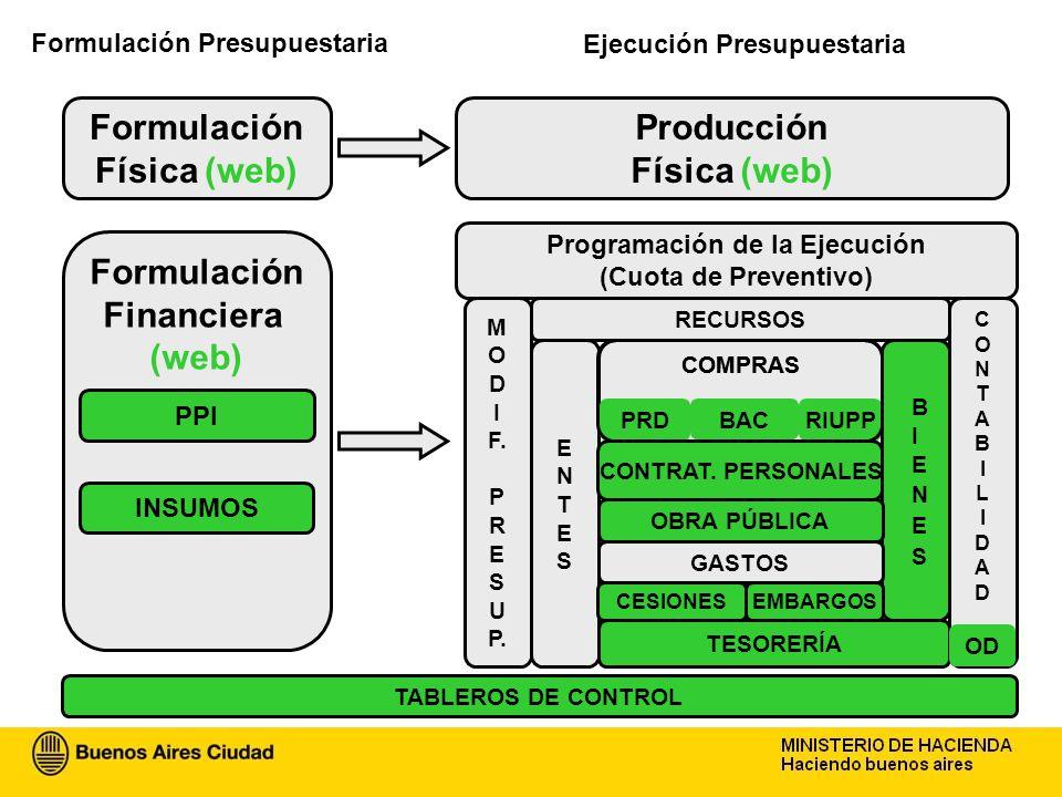 Formulación Física (web) Producción Financiera (web) Formulación