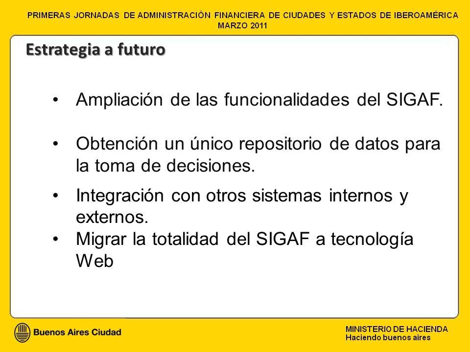 Estrategia a futuro Ampliación de las funcionalidades del SIGAF. Obtención un único repositorio de datos para la toma de decisiones.