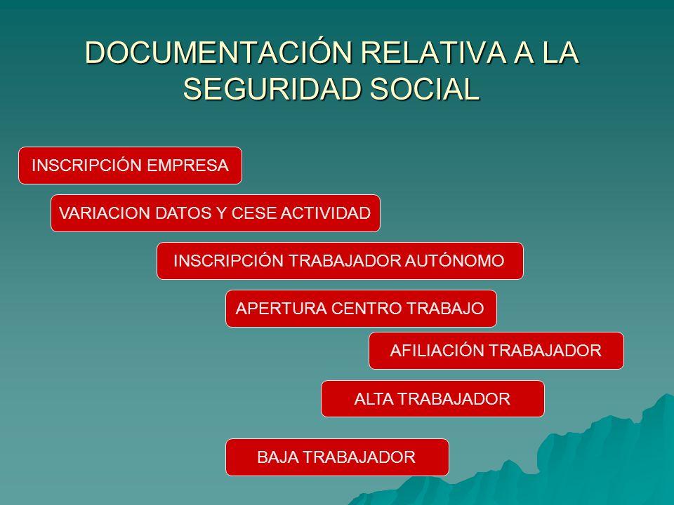 DOCUMENTACIÓN RELATIVA A LA SEGURIDAD SOCIAL