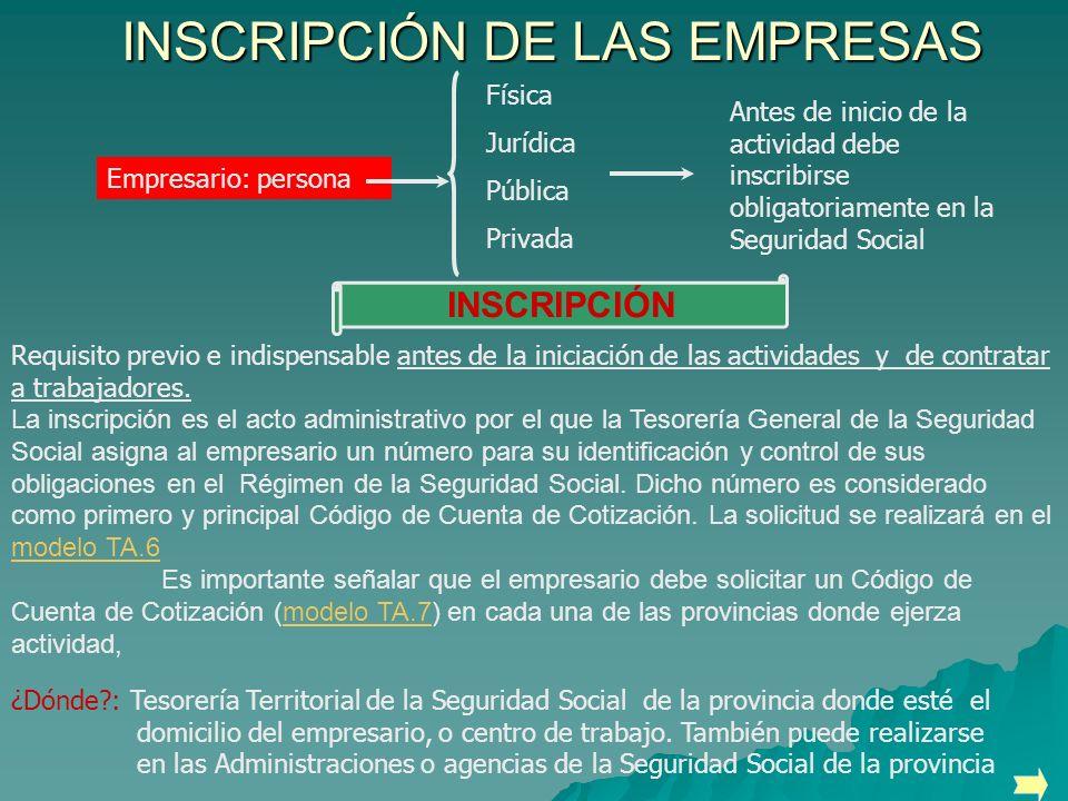 INSCRIPCIÓN DE LAS EMPRESAS