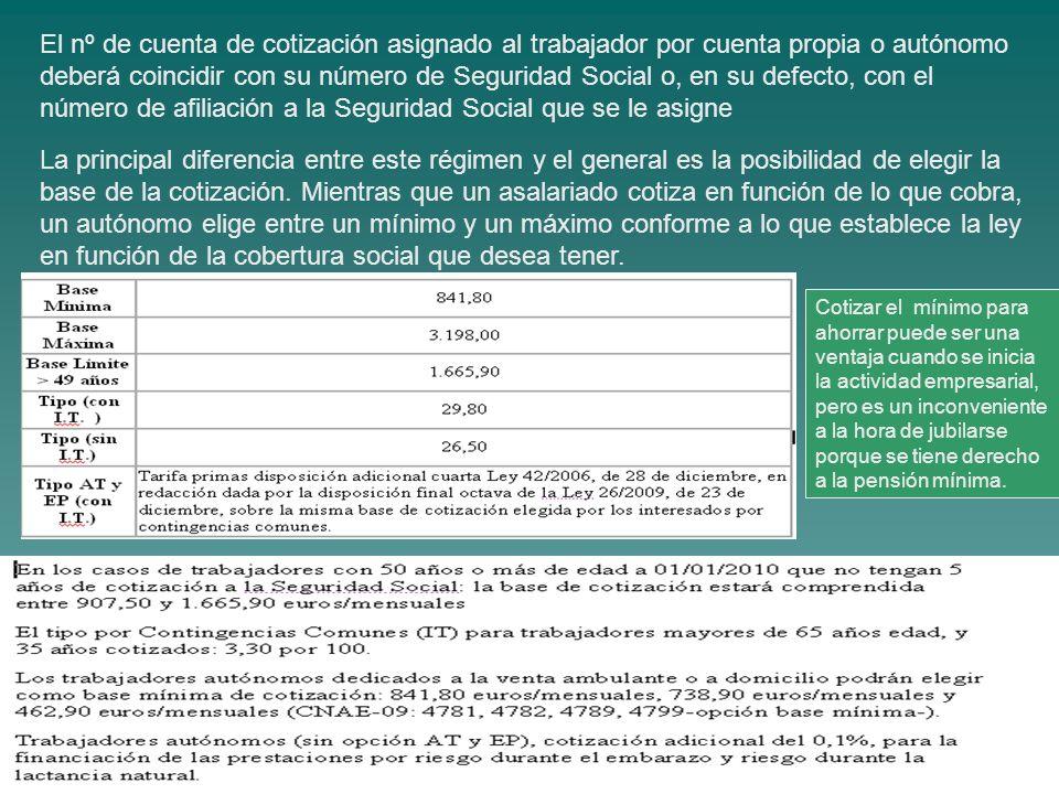 El nº de cuenta de cotización asignado al trabajador por cuenta propia o autónomo deberá coincidir con su número de Seguridad Social o, en su defecto, con el número de afiliación a la Seguridad Social que se le asigne