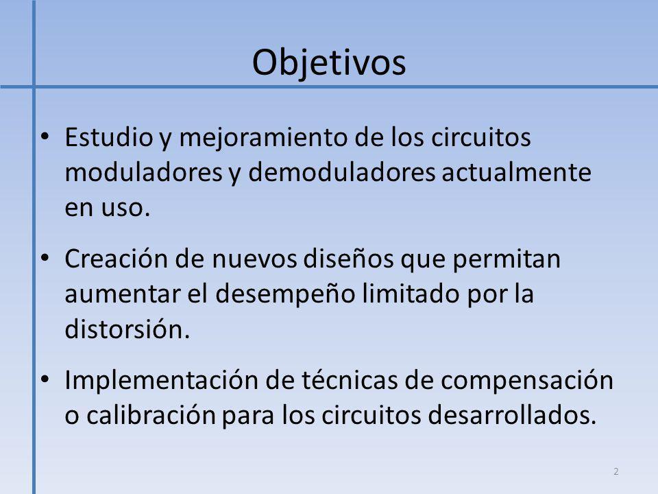 Objetivos Estudio y mejoramiento de los circuitos moduladores y demoduladores actualmente en uso.