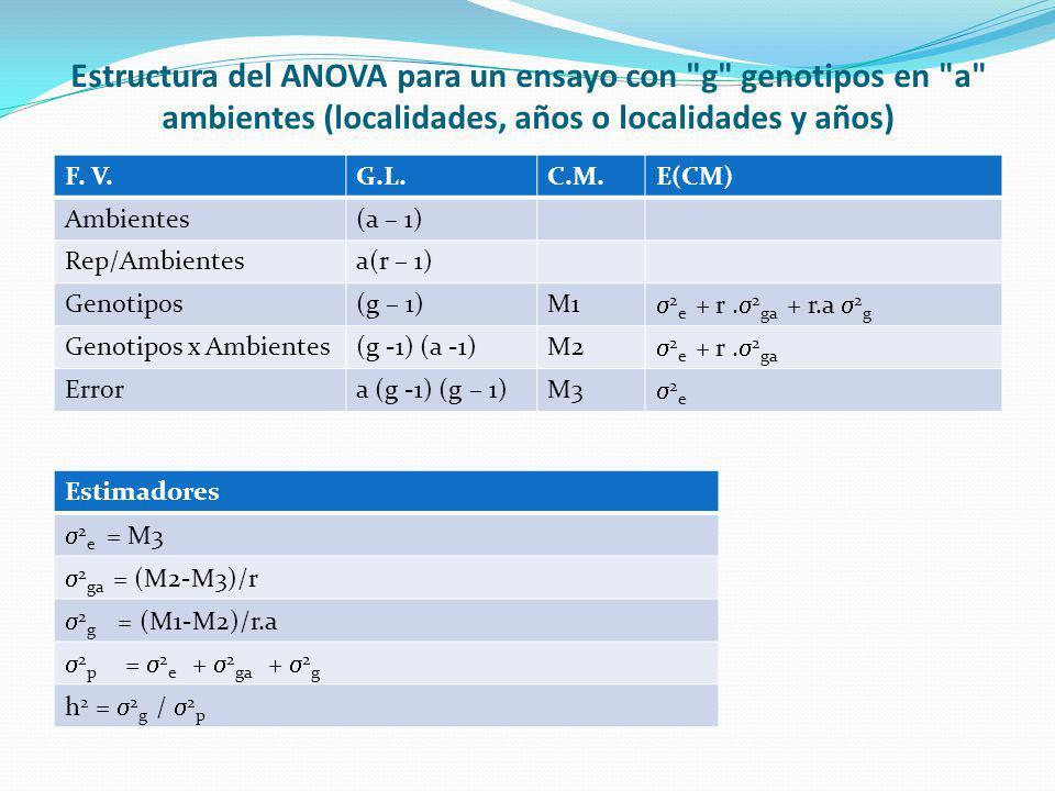 Estructura del ANOVA para un ensayo con g genotipos en a ambientes (localidades, años o localidades y años)