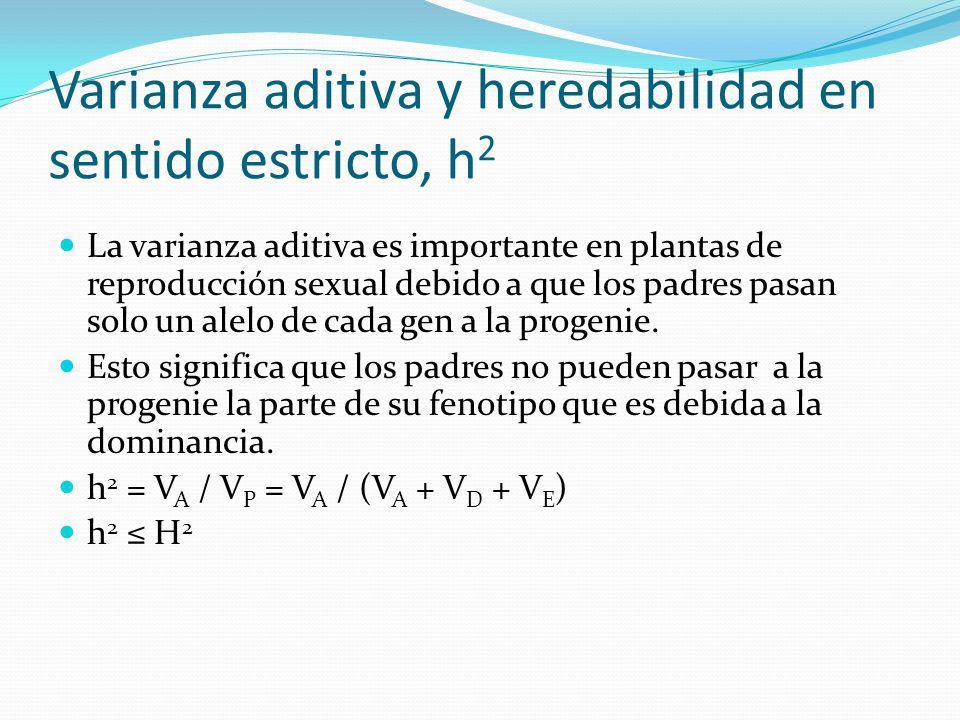 Varianza aditiva y heredabilidad en sentido estricto, h2