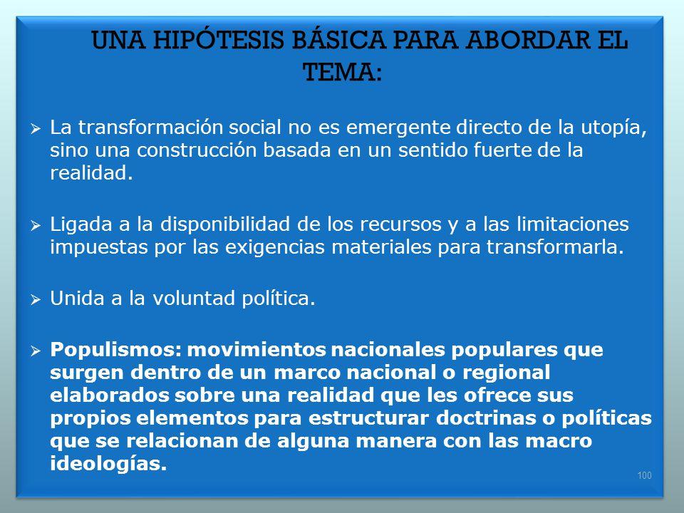 UNA HIPÓTESIS BÁSICA PARA ABORDAR EL TEMA: