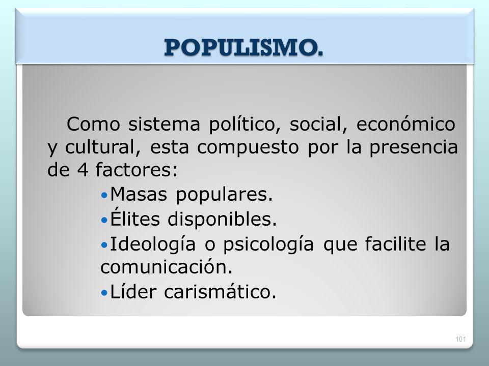 POPULISMO. Como sistema político, social, económico y cultural, esta compuesto por la presencia de 4 factores: