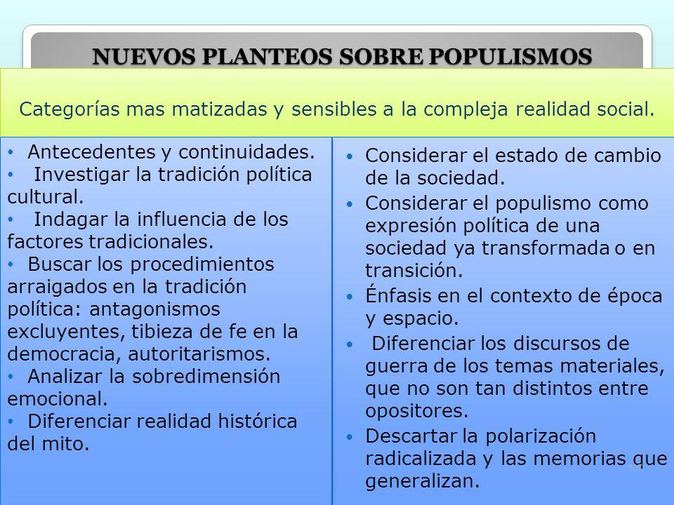 NUEVOS PLANTEOS SOBRE POPULISMOS