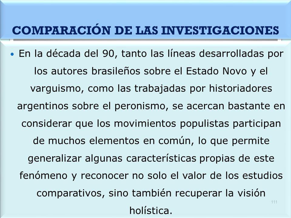 COMPARACIÓN DE LAS INVESTIGACIONES
