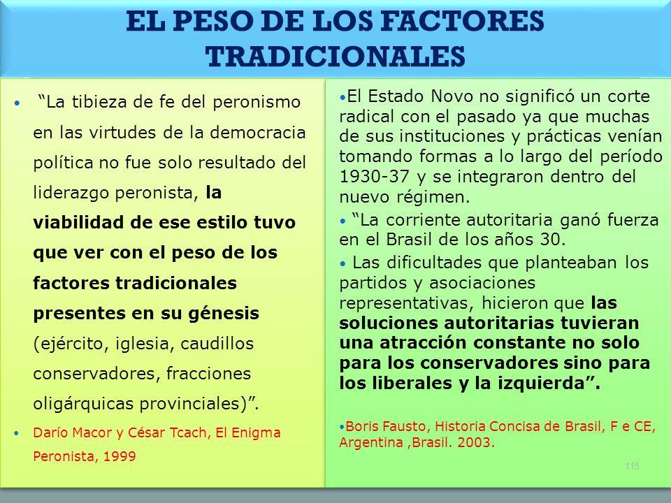 EL PESO DE LOS FACTORES TRADICIONALES