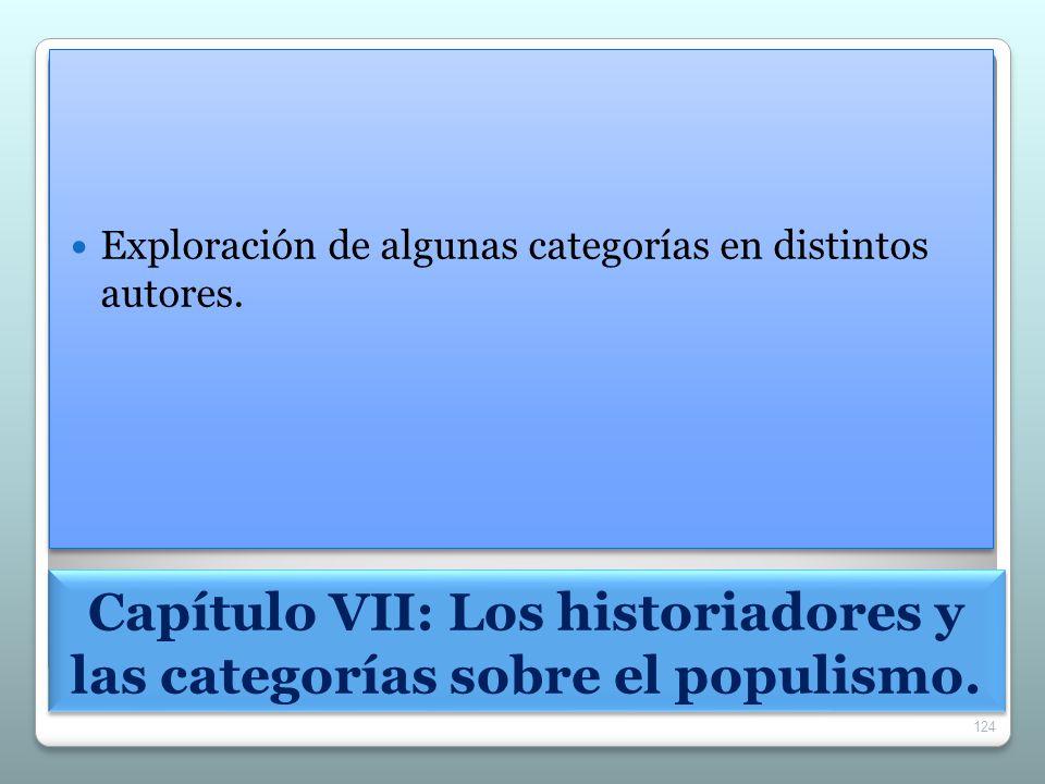 Capítulo VII: Los historiadores y las categorías sobre el populismo.