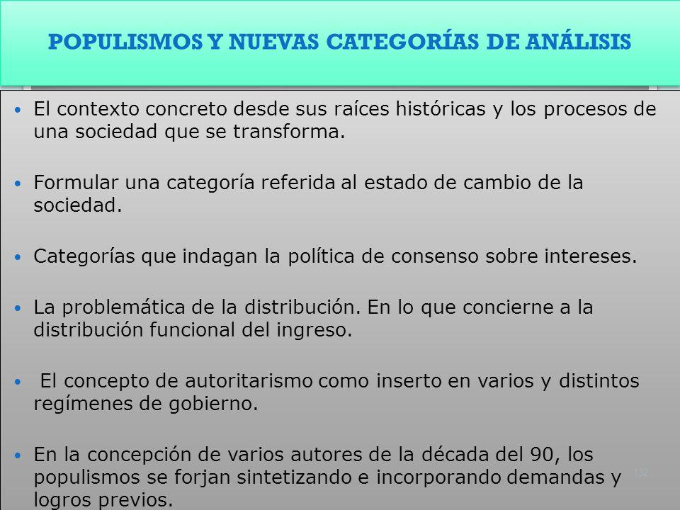 POPULISMOS Y NUEVAS CATEGORÍAS DE ANÁLISIS