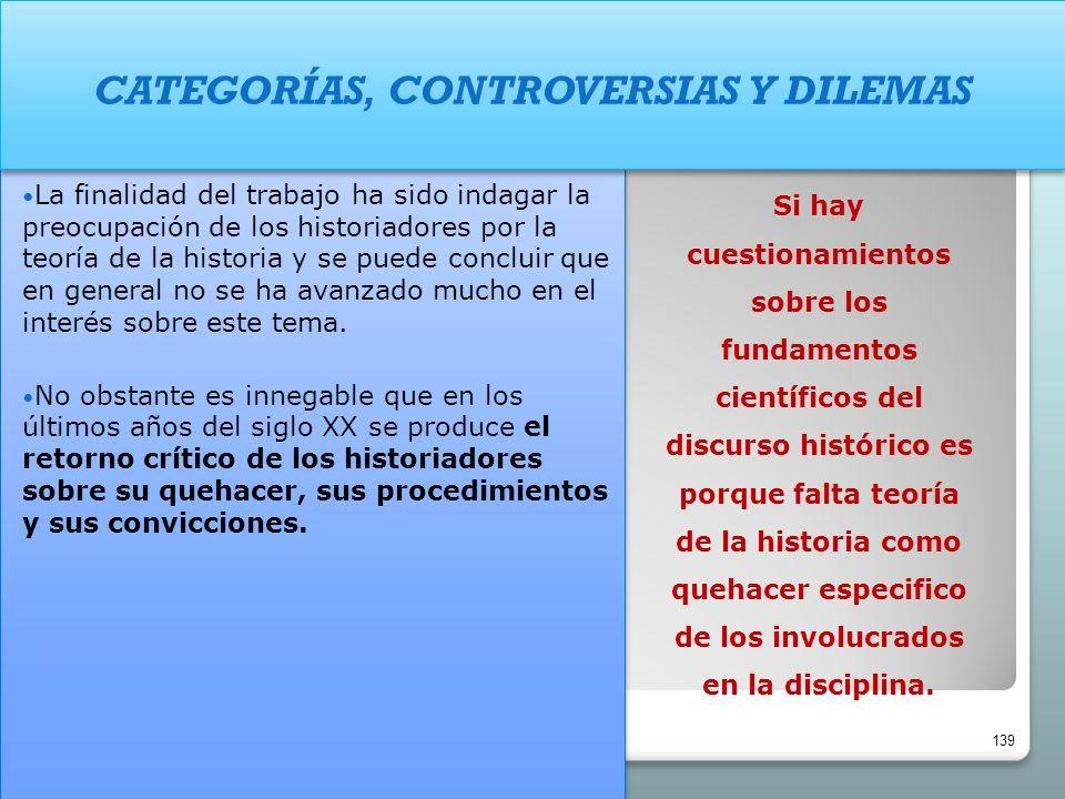 CATEGORÍAS, CONTROVERSIAS Y DILEMAS