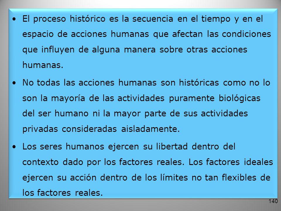 El proceso histórico es la secuencia en el tiempo y en el espacio de acciones humanas que afectan las condiciones que influyen de alguna manera sobre otras acciones humanas.