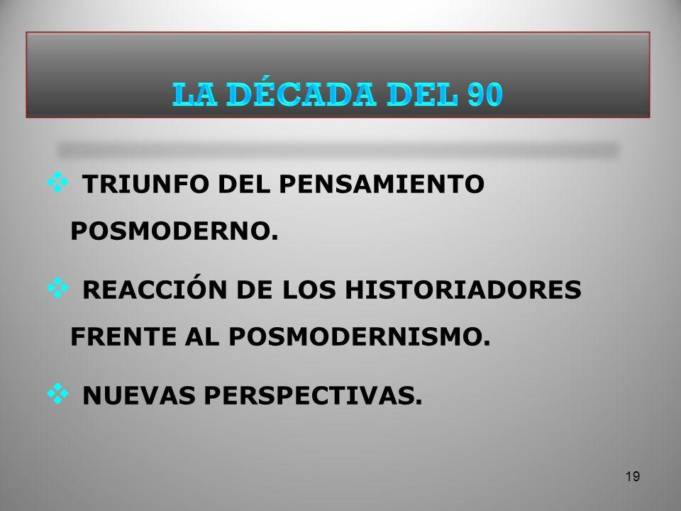 LA DÉCADA DEL 90 TRIUNFO DEL PENSAMIENTO POSMODERNO.