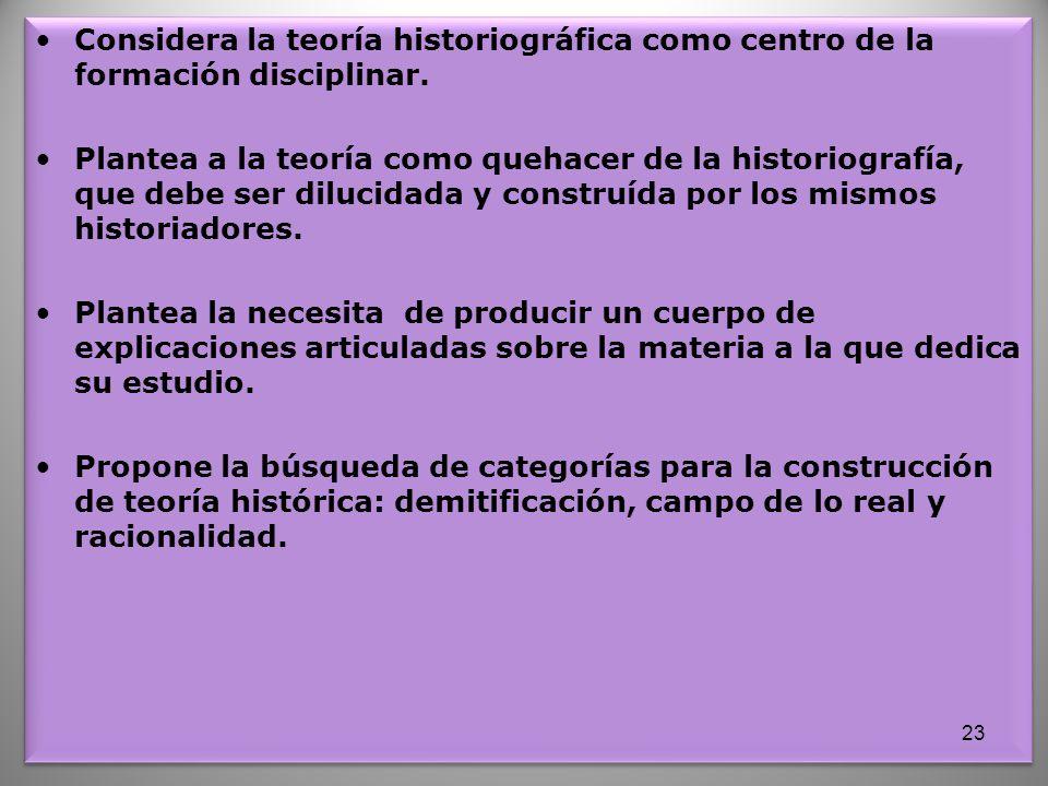 Considera la teoría historiográfica como centro de la formación disciplinar.