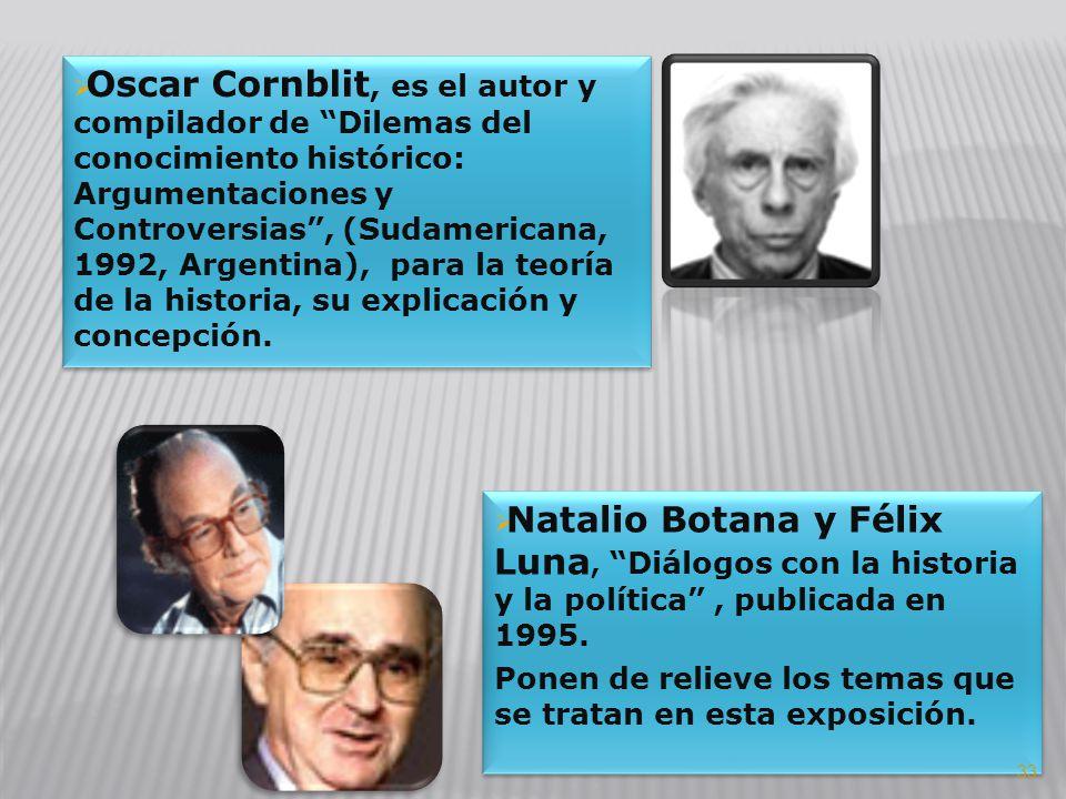 Oscar Cornblit, es el autor y compilador de Dilemas del conocimiento histórico: Argumentaciones y Controversias , (Sudamericana, 1992, Argentina), para la teoría de la historia, su explicación y concepción.