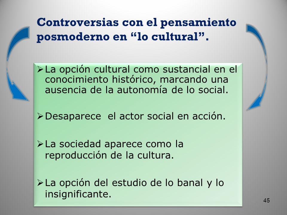 Controversias con el pensamiento posmoderno en lo cultural .