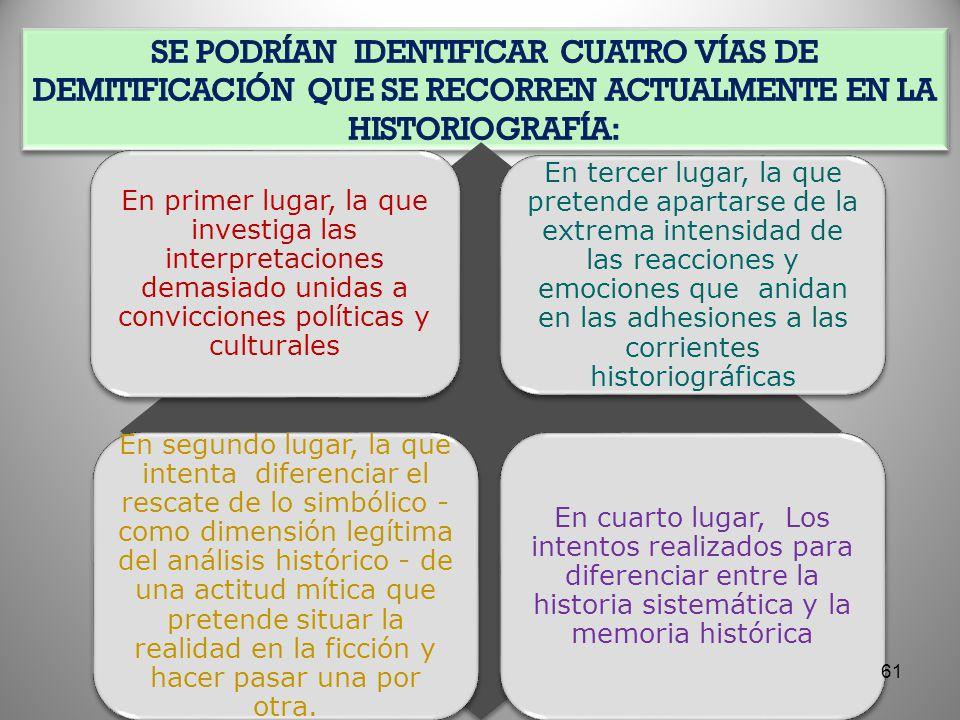 Se podrían identificar cuatro vías de demitificación que se recorren actualmente en la historiografía: