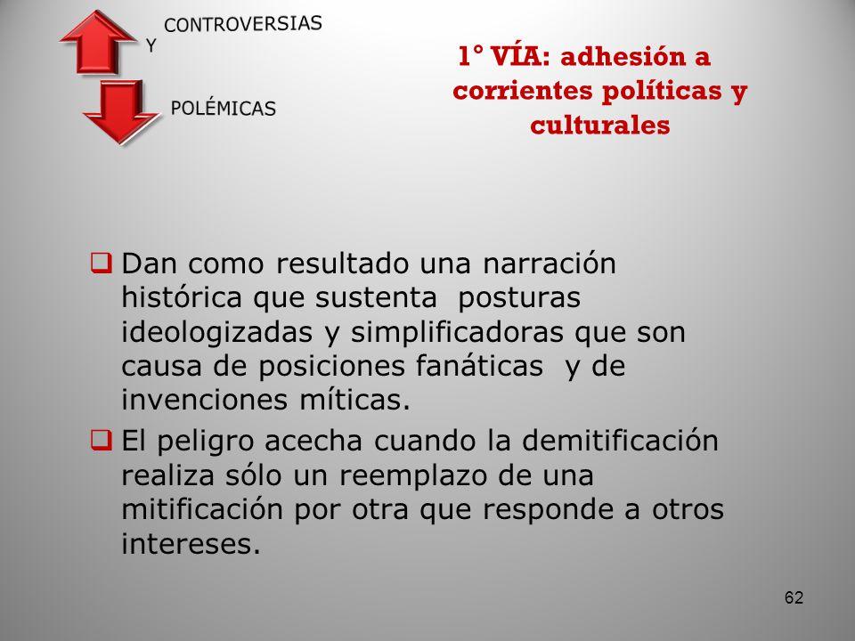 1° VÍA: adhesión a corrientes políticas y culturales