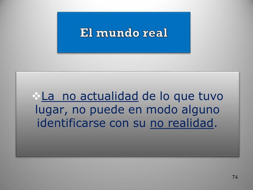 El mundo real La no actualidad de lo que tuvo lugar, no puede en modo alguno identificarse con su no realidad.