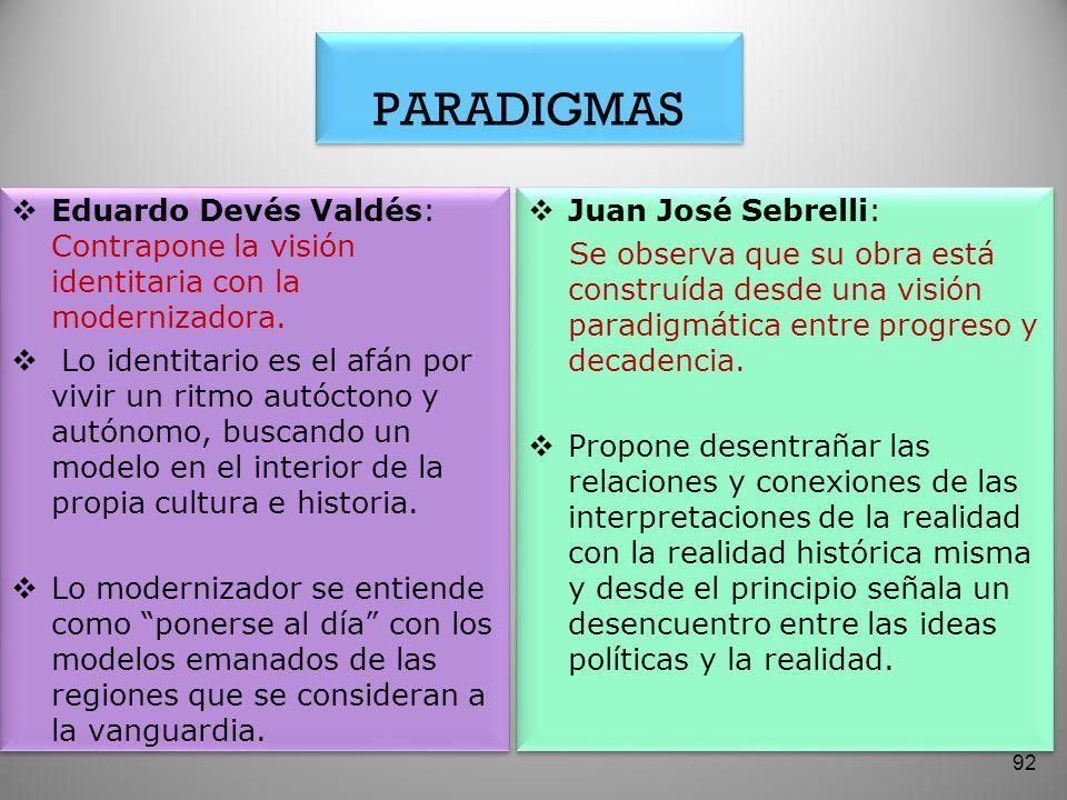 PARADIGMAS Eduardo Devés Valdés: Contrapone la visión identitaria con la modernizadora.