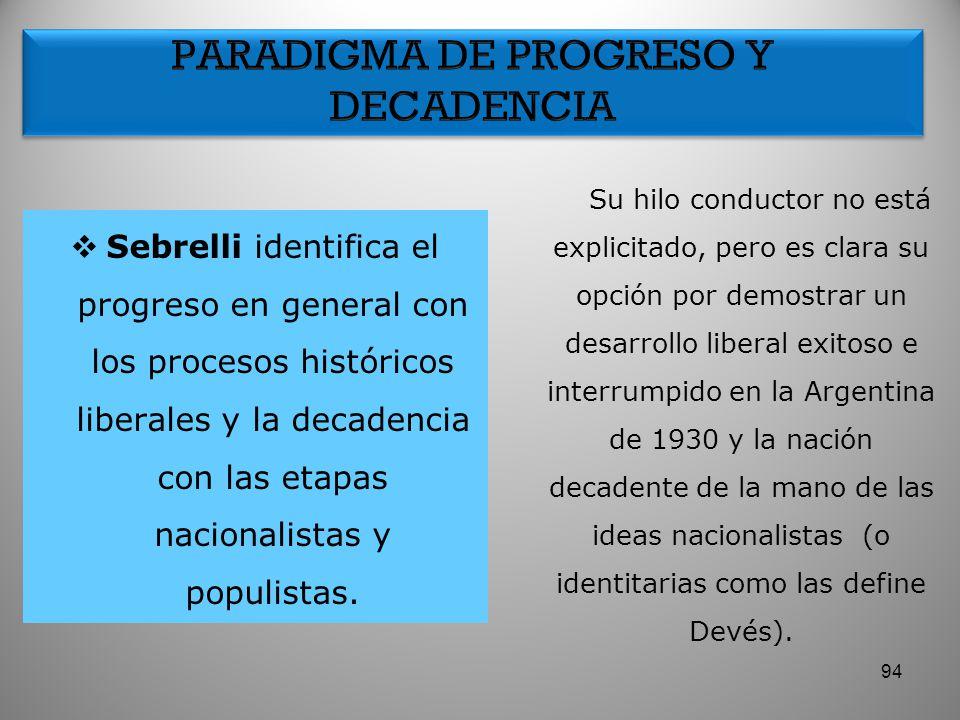 PARADIGMA DE PROGRESO Y DECADENCIA