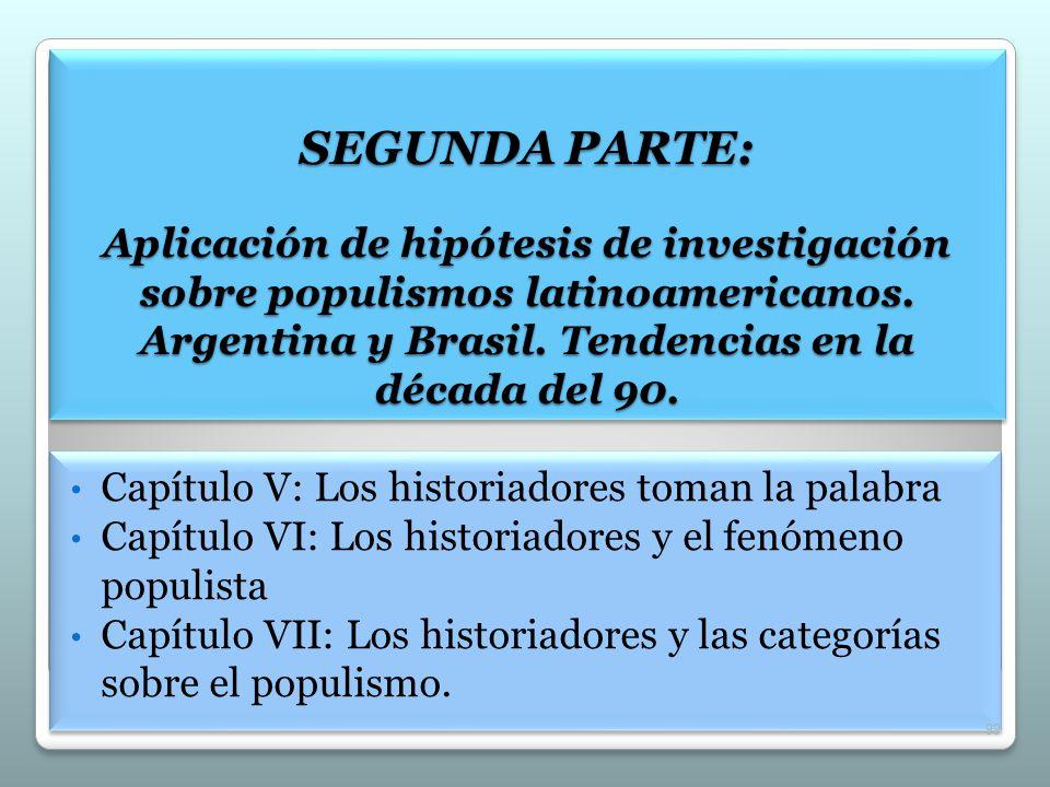 SEGUNDA PARTE: Aplicación de hipótesis de investigación sobre populismos latinoamericanos. Argentina y Brasil. Tendencias en la década del 90.