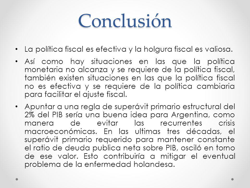 Conclusión La política fiscal es efectiva y la holgura fiscal es valiosa.