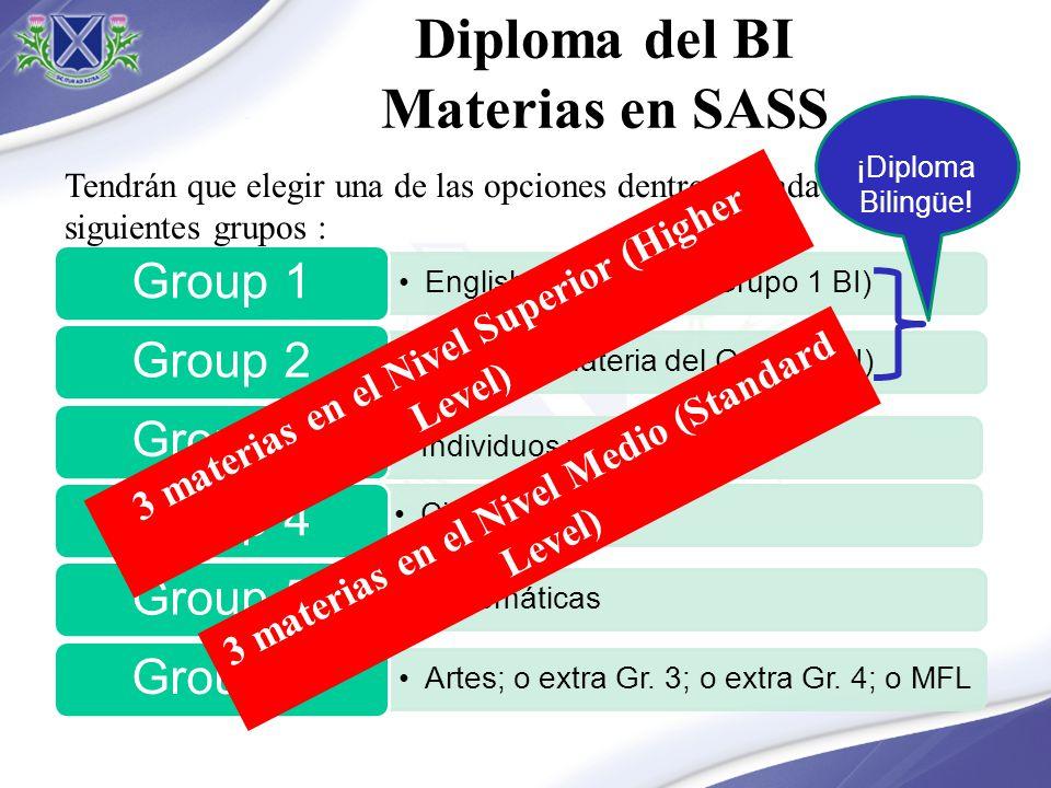 Diploma del BI Materias en SASS