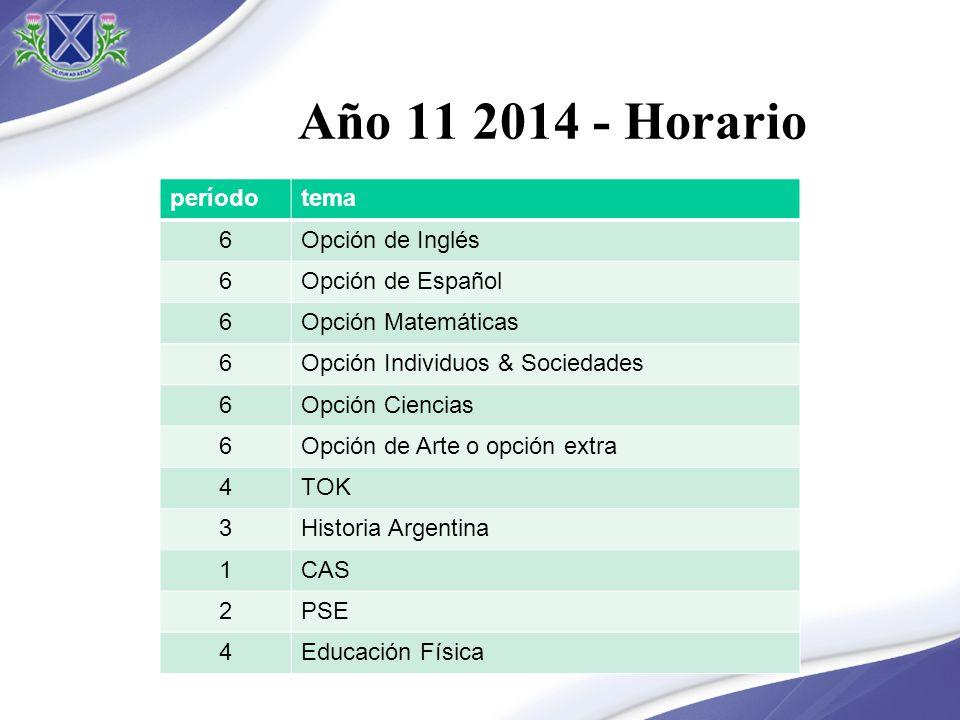 Año 11 2014 - Horario período tema 6 Opción de Inglés