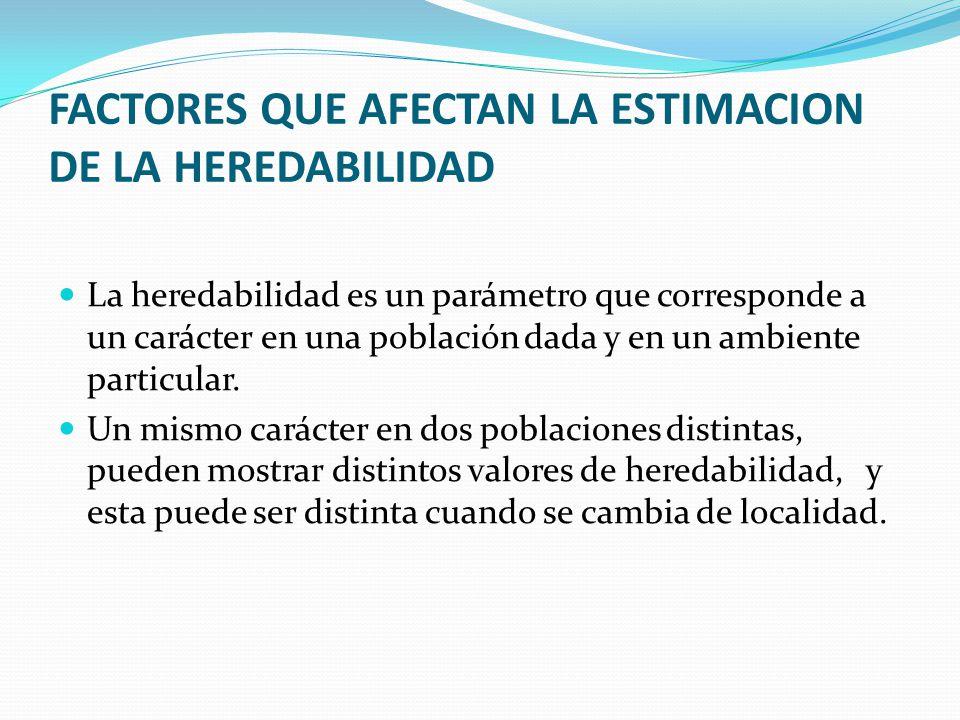 FACTORES QUE AFECTAN LA ESTIMACION DE LA HEREDABILIDAD