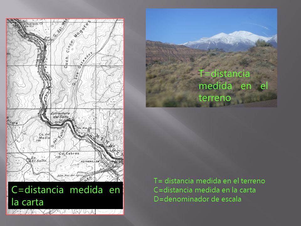 T=distancia medida en el terreno