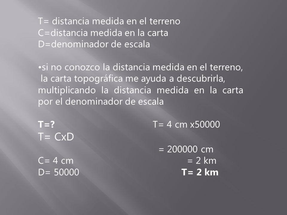 T= CxD T= distancia medida en el terreno