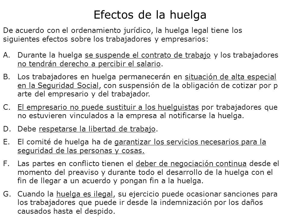 Efectos de la huelga De acuerdo con el ordenamiento jurídico, la huelga legal tiene los siguientes efectos sobre los trabajadores y empresarios: