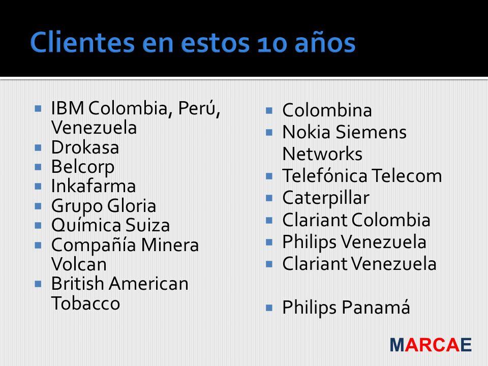 Clientes en estos 10 años IBM Colombia, Perú, Venezuela Drokasa