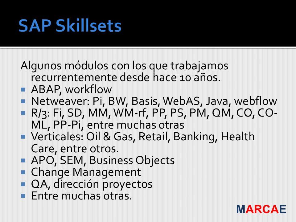 SAP Skillsets Algunos módulos con los que trabajamos recurrentemente desde hace 10 años. ABAP, workflow.